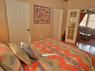 Bedroom 2, bathroom, french doors to den